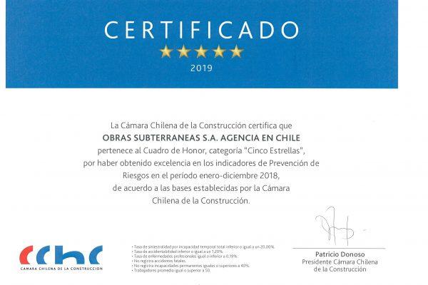 Certificado 5 estrellas OSSA CChC May19